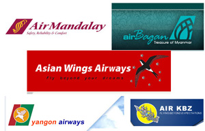 yangon airway airmandalay  air KBZ  asian wings airbagan myanmar airway