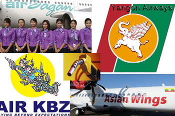 yangon airways/air KBZ/ aisan wings / airbagan /airmandalay /maynmar airways